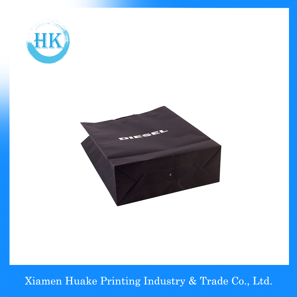 Black Color Environmental Paper Bag With Rope Handle